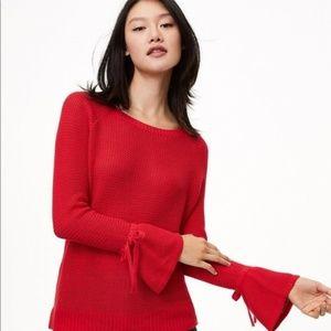 Ann Taylor LOFT XS Red Open Knit Cotton Sweater